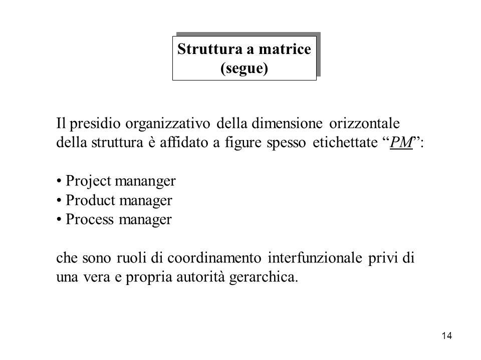 Struttura a matrice (segue) Il presidio organizzativo della dimensione orizzontale. della struttura è affidato a figure spesso etichettate PM :