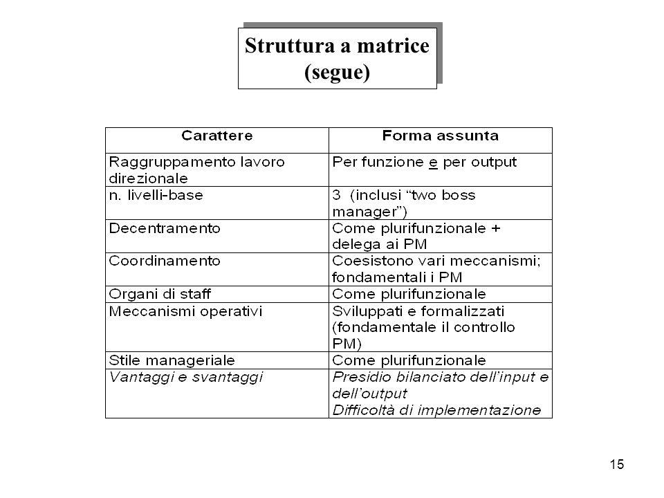 Struttura a matrice (segue)