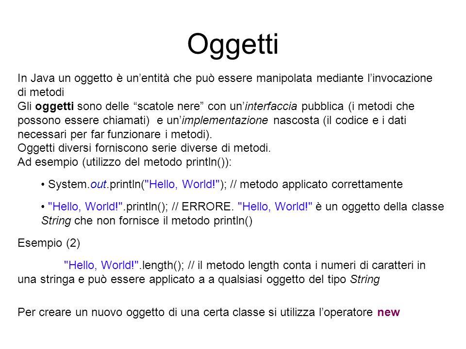 Oggetti In Java un oggetto è un'entità che può essere manipolata mediante l'invocazione di metodi.