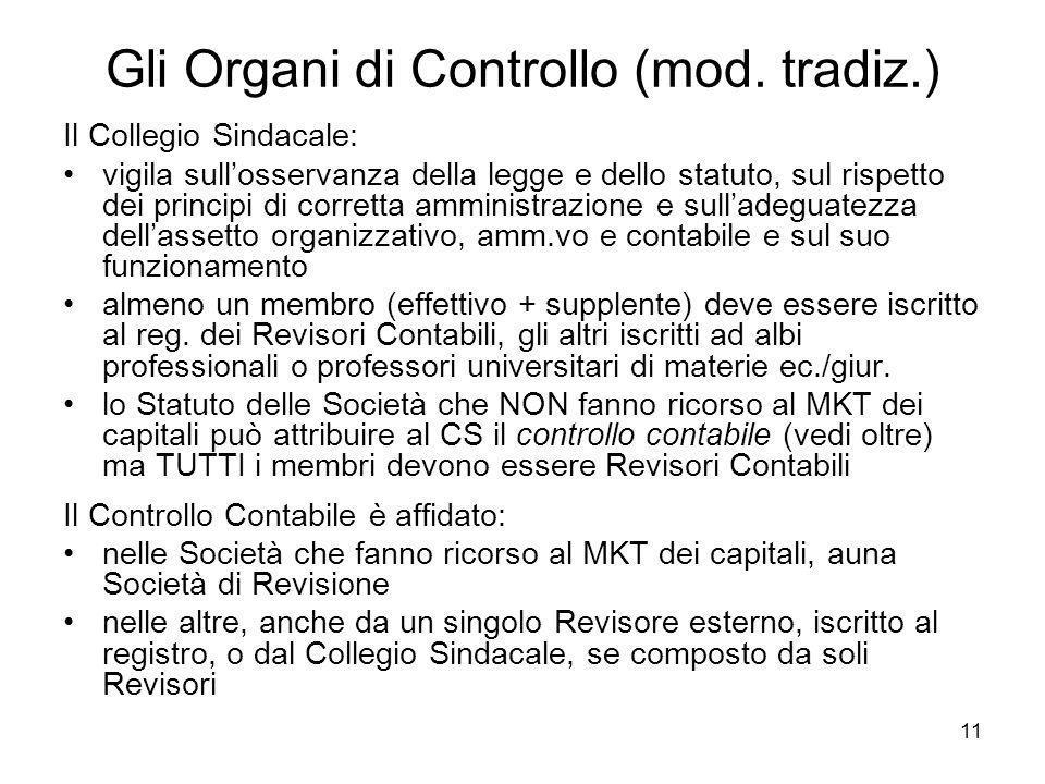 Gli Organi di Controllo (mod. tradiz.)
