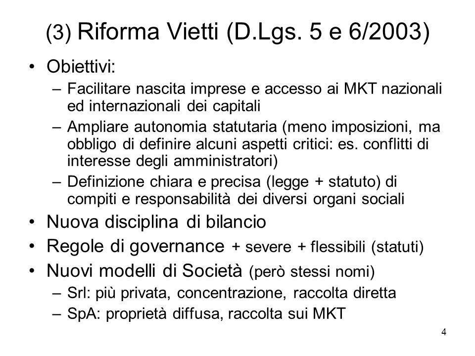 (3) Riforma Vietti (D.Lgs. 5 e 6/2003)