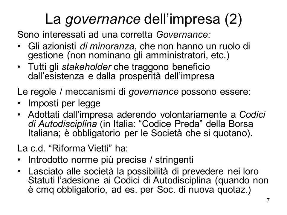 La governance dell'impresa (2)