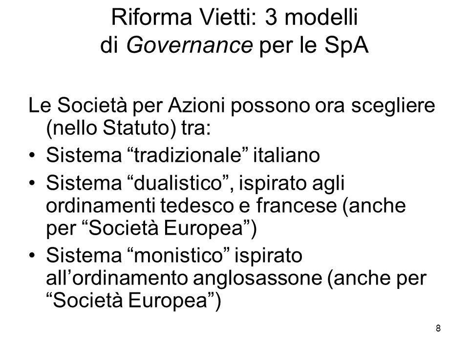 Riforma Vietti: 3 modelli di Governance per le SpA