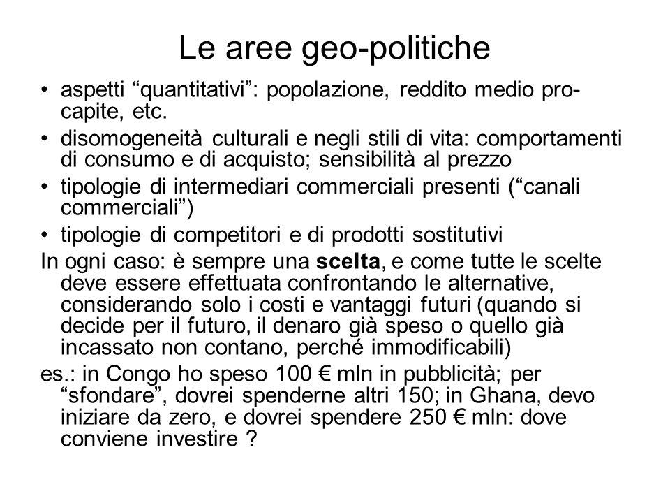 Le aree geo-politiche aspetti quantitativi : popolazione, reddito medio pro-capite, etc.