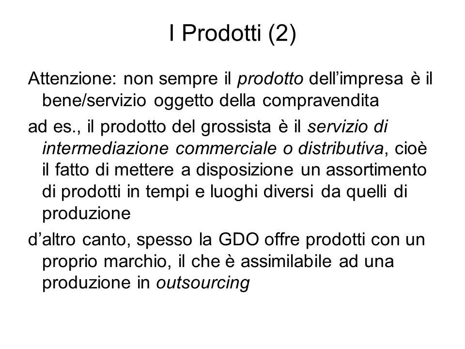 I Prodotti (2) Attenzione: non sempre il prodotto dell'impresa è il bene/servizio oggetto della compravendita.