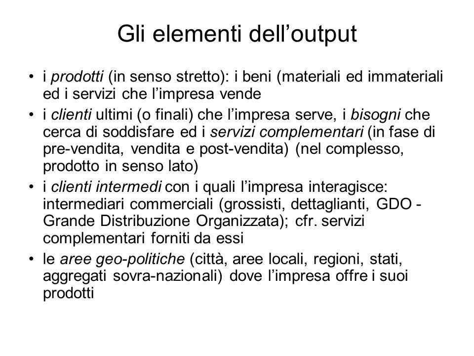 Gli elementi dell'output