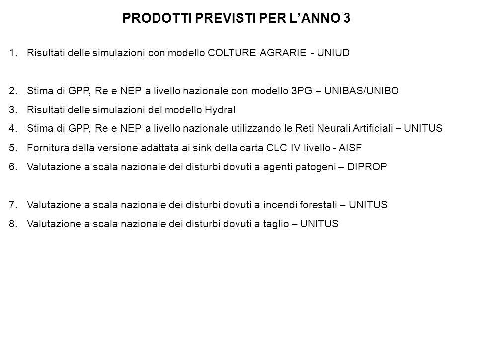 PRODOTTI PREVISTI PER L'ANNO 3