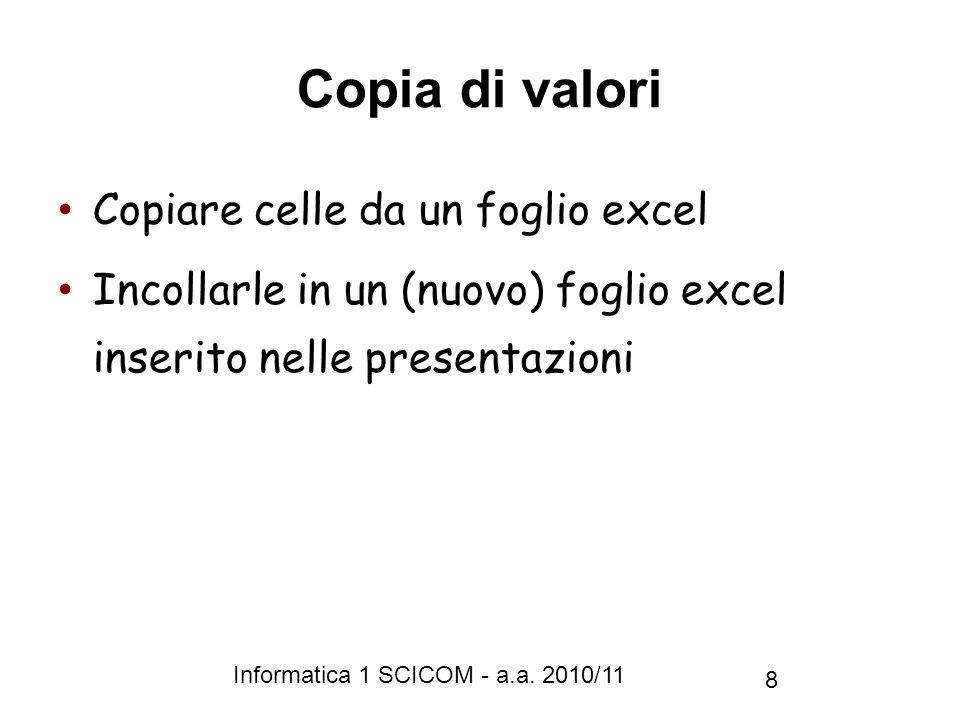 Copia di valori Copiare celle da un foglio excel