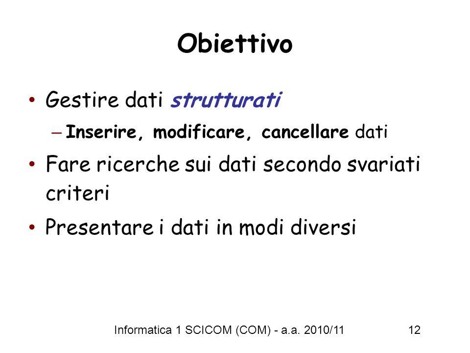Obiettivo Gestire dati strutturati