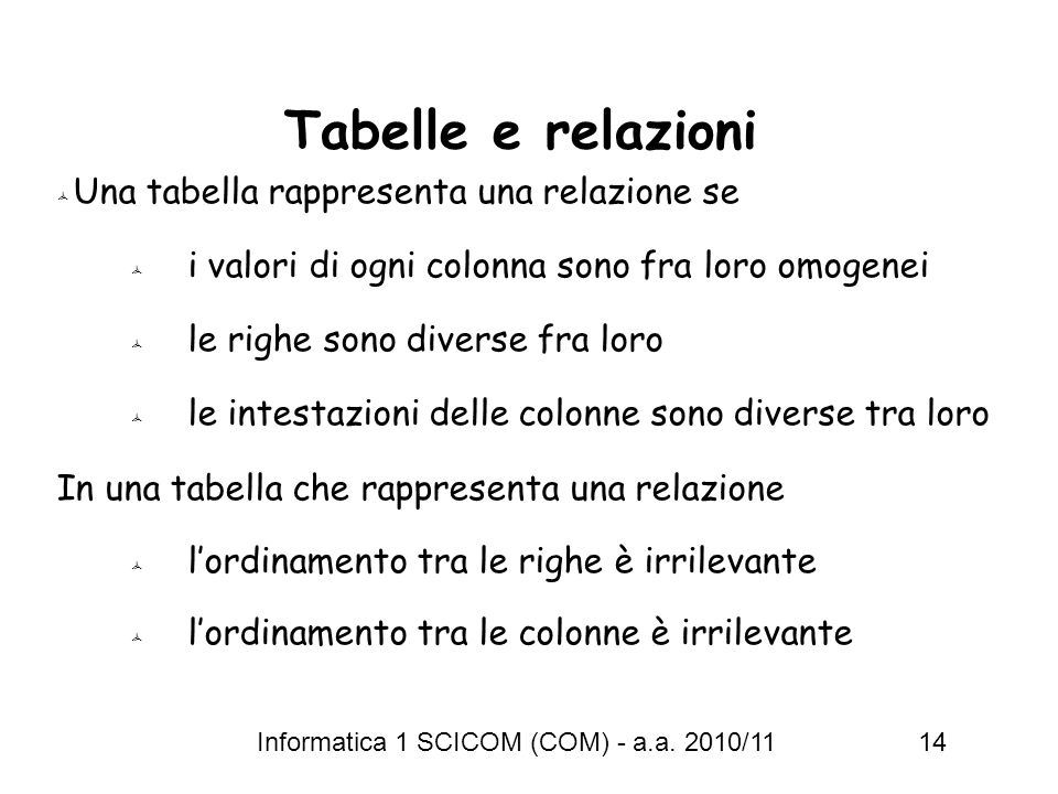 Tabelle e relazioni Una tabella rappresenta una relazione se