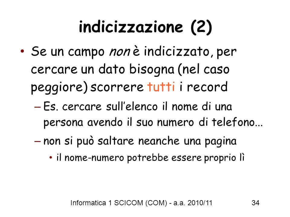 indicizzazione (2) Se un campo non è indicizzato, per cercare un dato bisogna (nel caso peggiore) scorrere tutti i record.