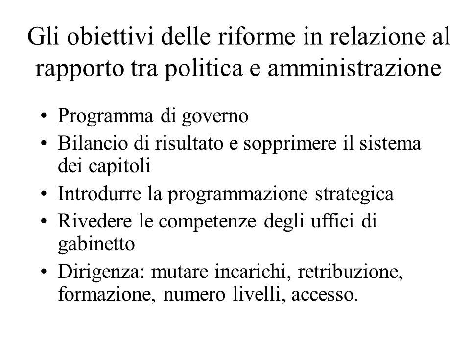 Gli obiettivi delle riforme in relazione al rapporto tra politica e amministrazione