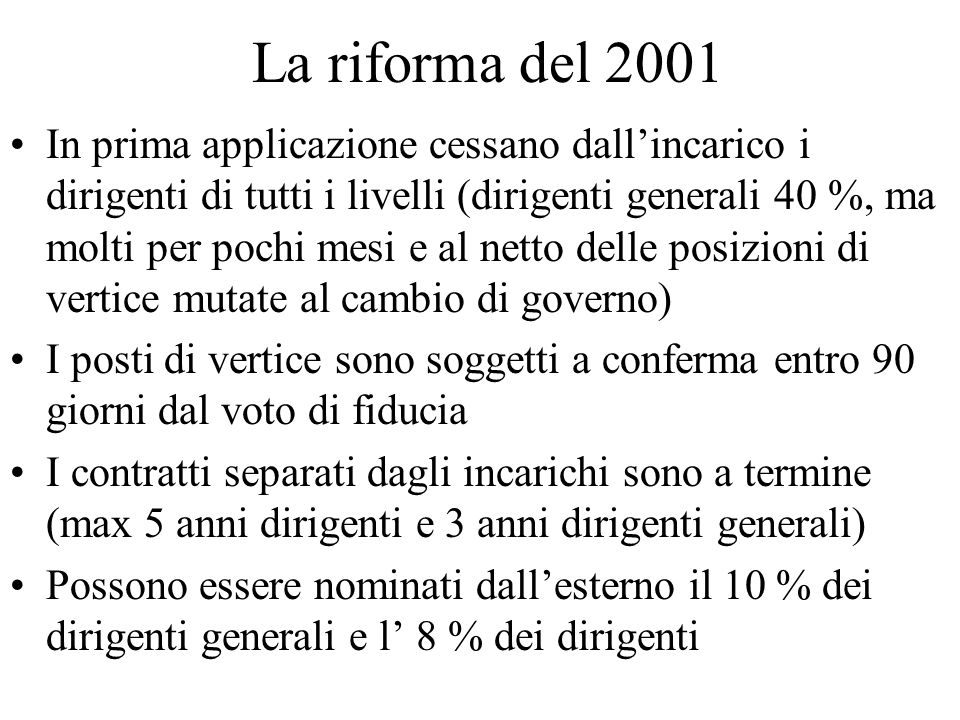 La riforma del 2001