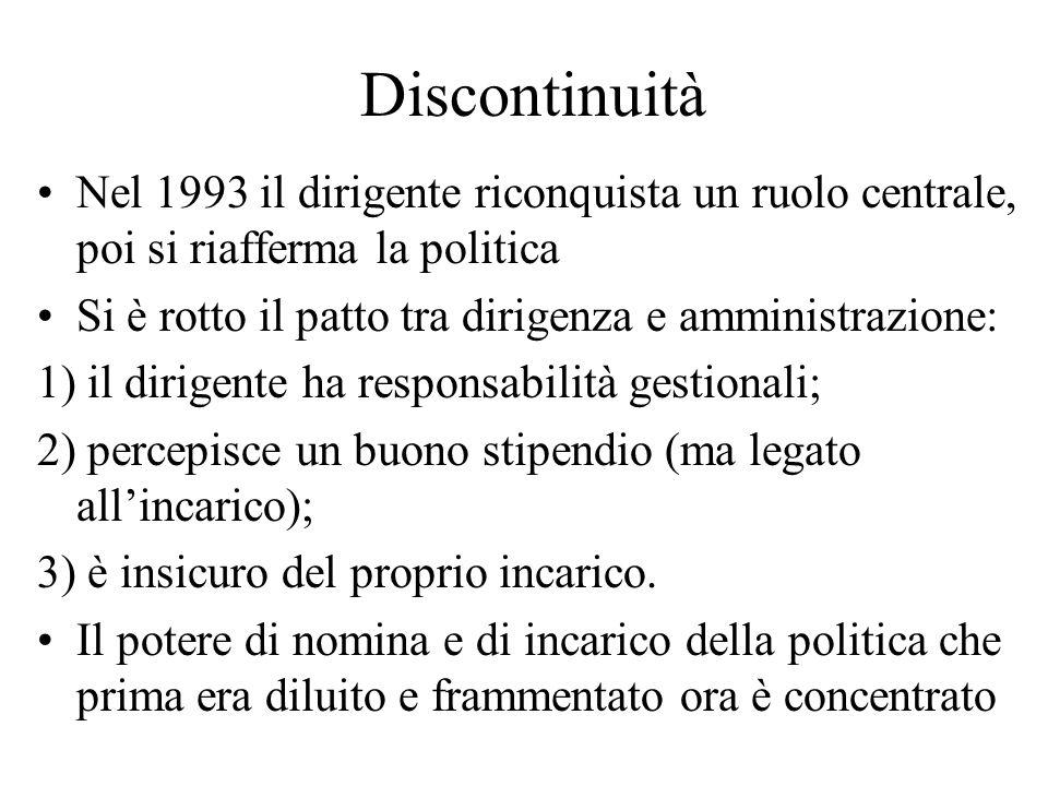 Discontinuità Nel 1993 il dirigente riconquista un ruolo centrale, poi si riafferma la politica.