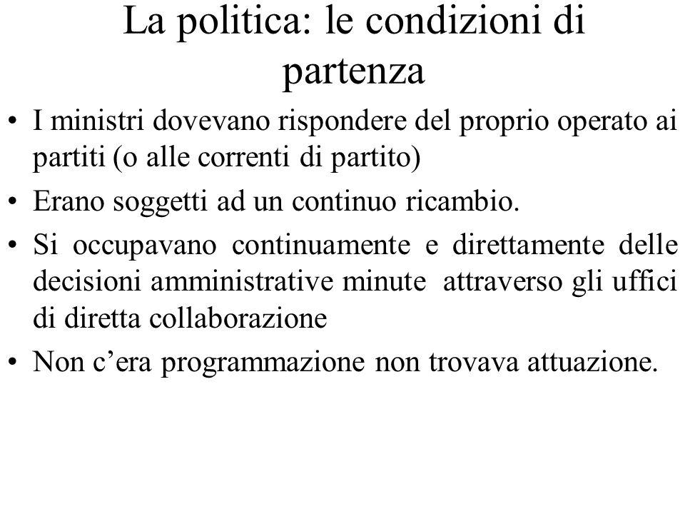 La politica: le condizioni di partenza