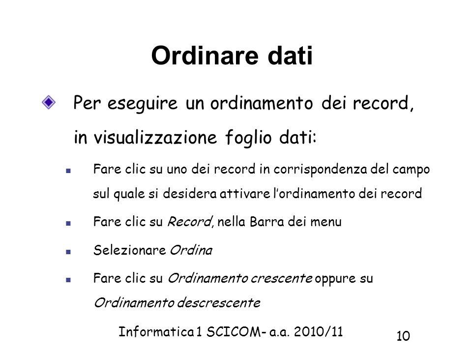 Ordinare datiPer eseguire un ordinamento dei record, in visualizzazione foglio dati: