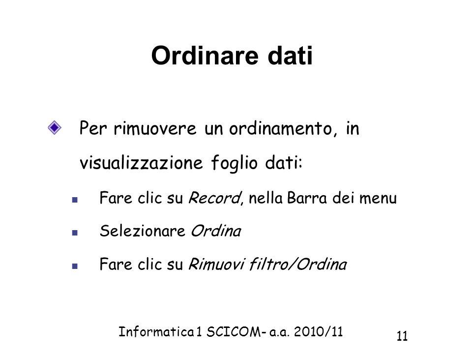 Ordinare dati Per rimuovere un ordinamento, in visualizzazione foglio dati: Fare clic su Record, nella Barra dei menu.
