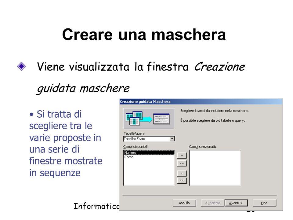 Creare una maschera Viene visualizzata la finestra Creazione guidata maschere.