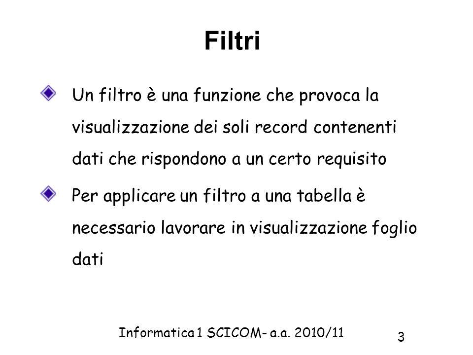 FiltriUn filtro è una funzione che provoca la visualizzazione dei soli record contenenti dati che rispondono a un certo requisito.