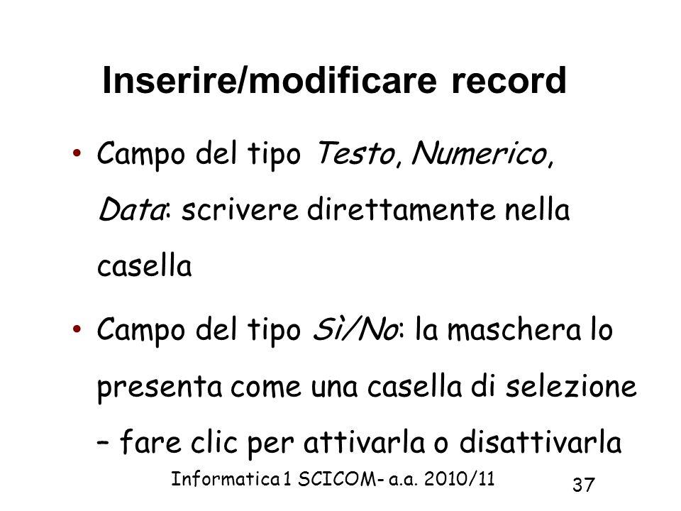 Inserire/modificare record