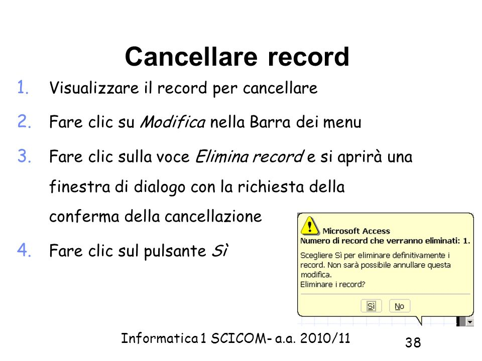 Cancellare record Visualizzare il record per cancellare