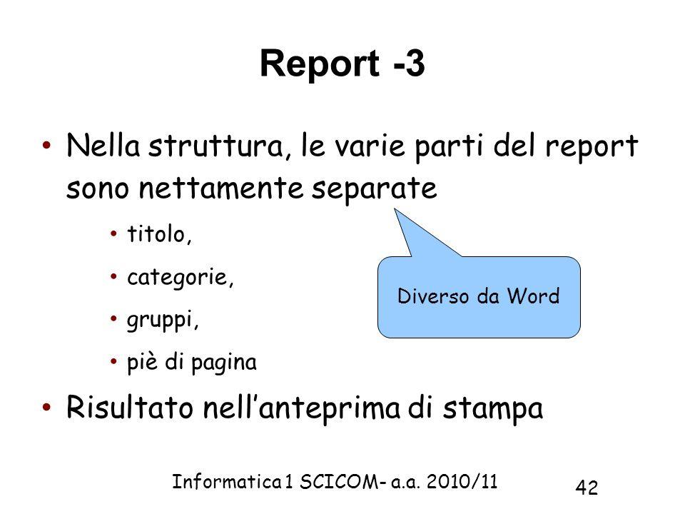 Report -3 Nella struttura, le varie parti del report sono nettamente separate. titolo, categorie,