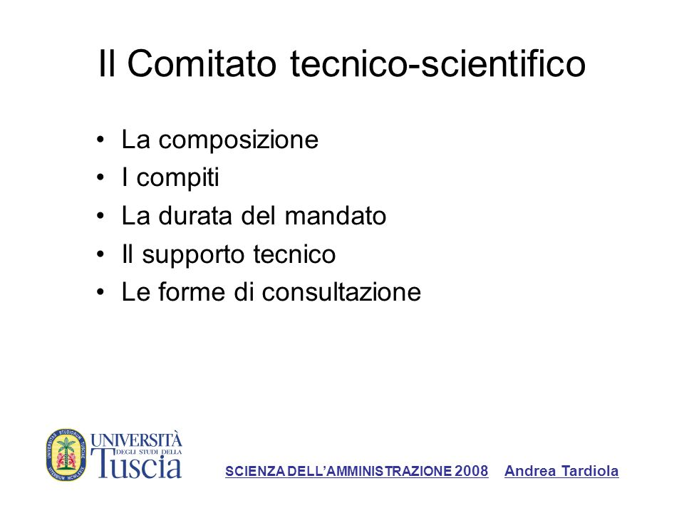 Il Comitato tecnico-scientifico