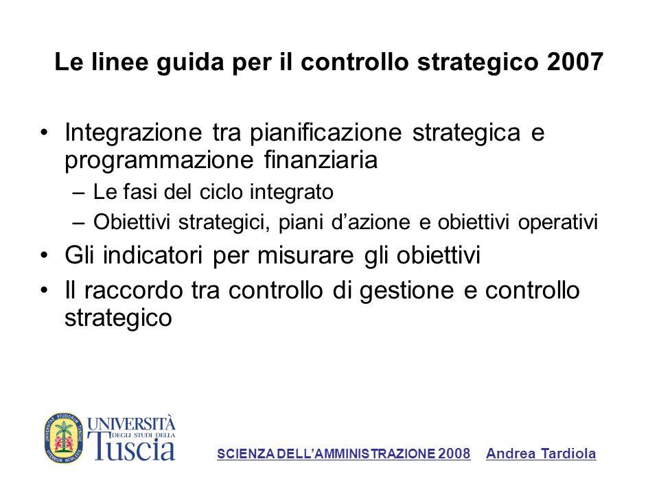 Le linee guida per il controllo strategico 2007
