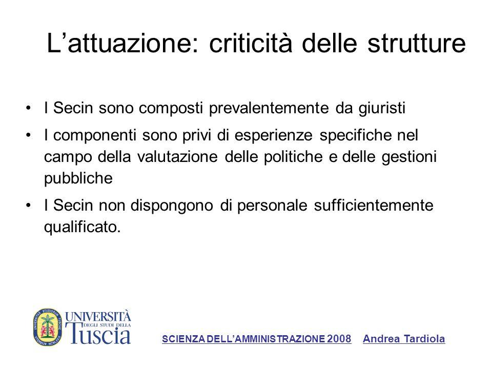 L'attuazione: criticità delle strutture