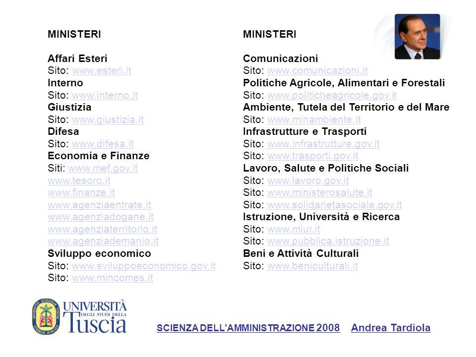 Sito: www.giustizia.it Difesa Sito: www.difesa.it Economia e Finanze