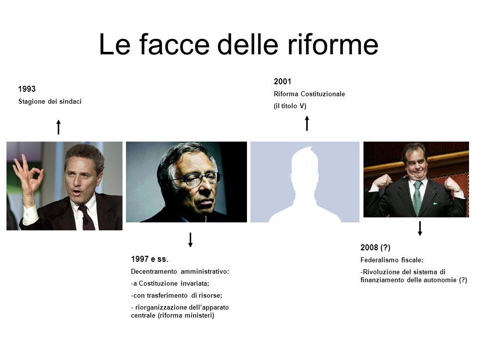 Le facce delle riforme 2001 1993 2008 ( ) 1997 e ss.