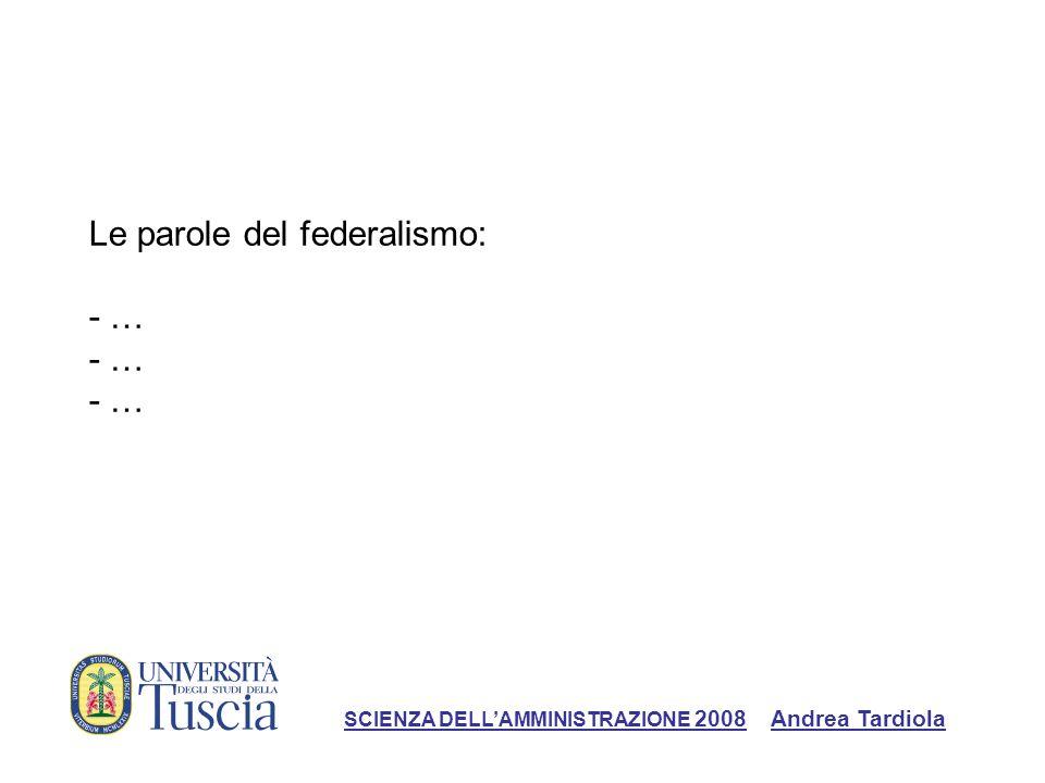Le parole del federalismo: - … - … - …