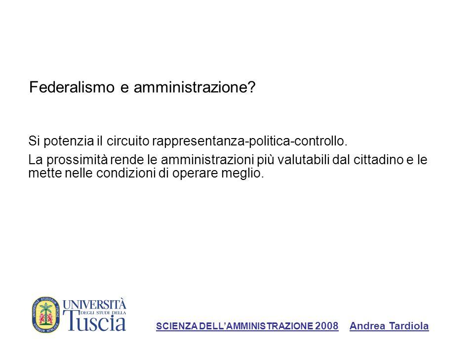 Federalismo e amministrazione