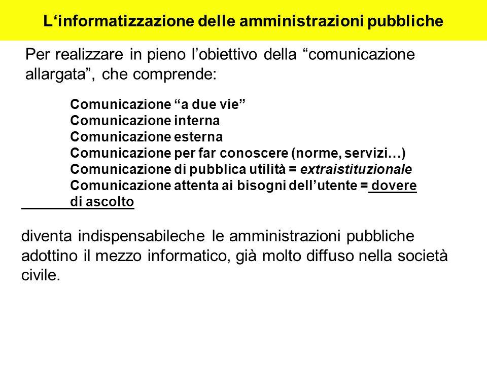 L'informatizzazione delle amministrazioni pubbliche