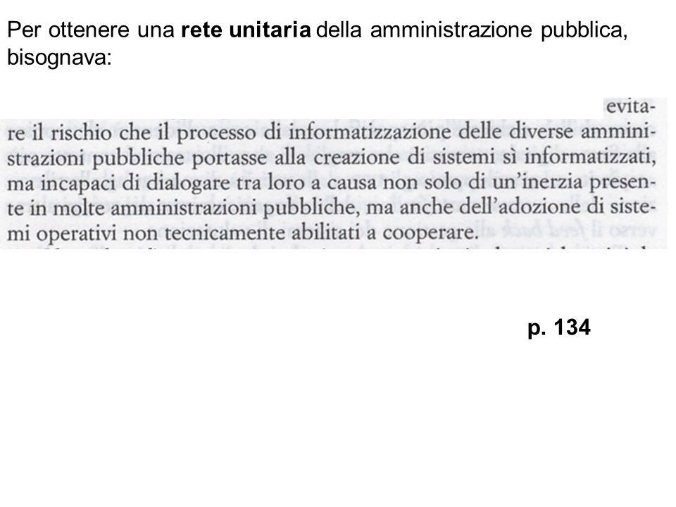 Per ottenere una rete unitaria della amministrazione pubblica, bisognava: