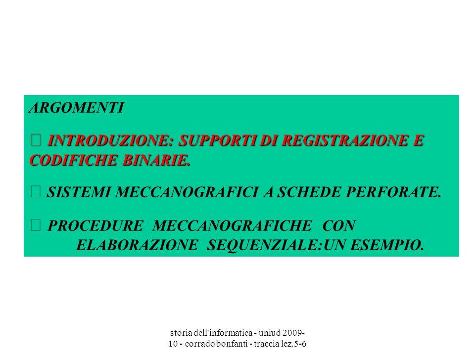  INTRODUZIONE: SUPPORTI DI REGISTRAZIONE E CODIFICHE BINARIE.