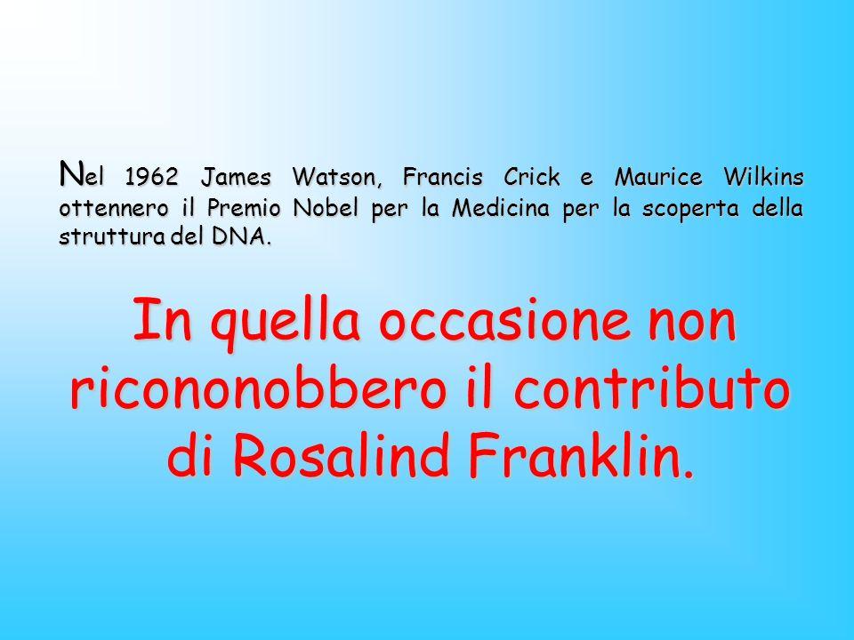Nel 1962 James Watson, Francis Crick e Maurice Wilkins ottennero il Premio Nobel per la Medicina per la scoperta della struttura del DNA.