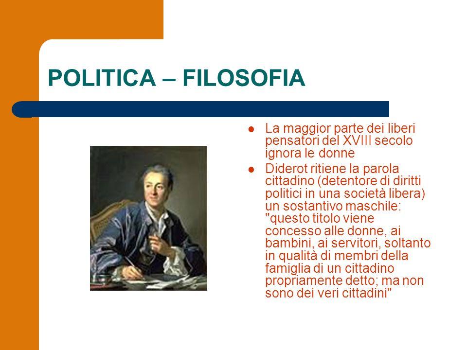 POLITICA – FILOSOFIA La maggior parte dei liberi pensatori del XVIII secolo ignora le donne.