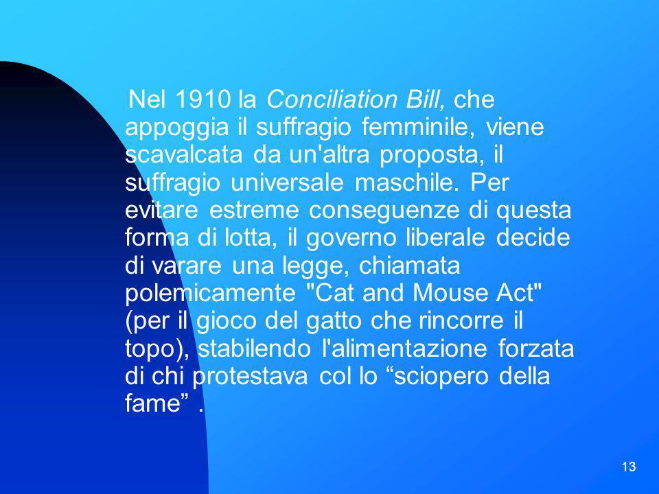 Nel 1910 la Conciliation Bill, che appoggia il suffragio femminile, viene scavalcata da un altra proposta, il suffragio universale maschile.