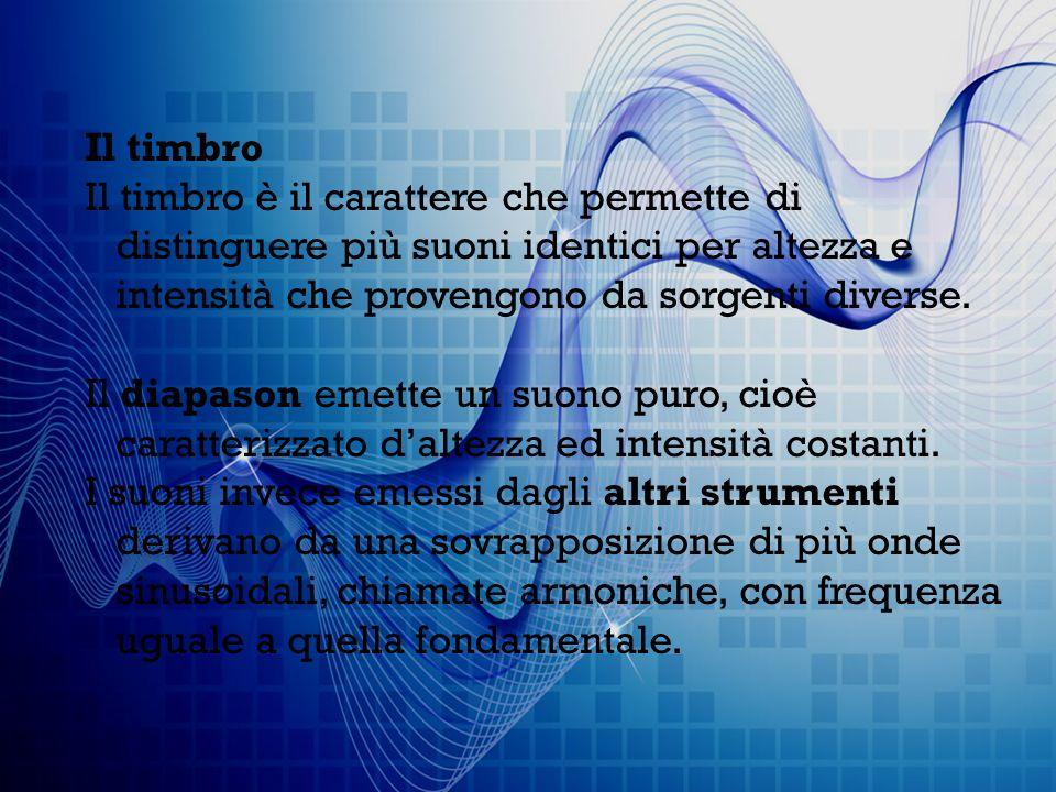 Il timbro Il timbro è il carattere che permette di. distinguere più suoni identici per altezza e. intensità che provengono da sorgenti diverse.