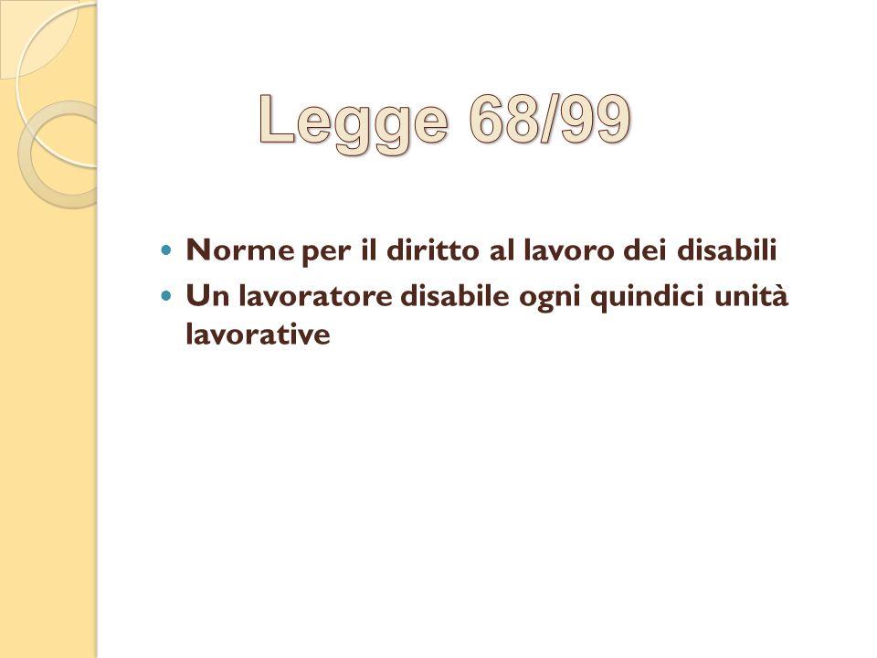 Legge 68/99 Norme per il diritto al lavoro dei disabili