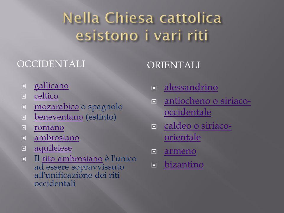 Nella Chiesa cattolica esistono i vari riti
