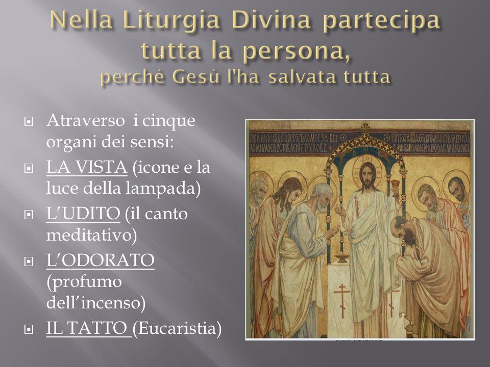 Nella Liturgia Divina partecipa tutta la persona, perchè Gesù l'ha salvata tutta