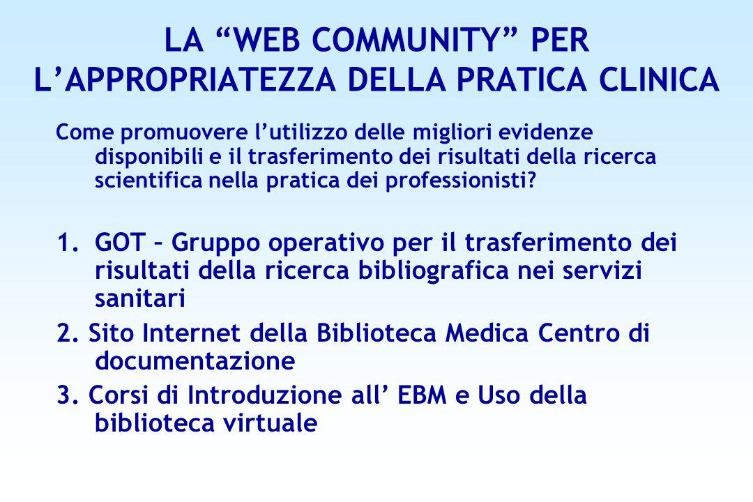LA WEB COMMUNITY PER L'APPROPRIATEZZA DELLA PRATICA CLINICA