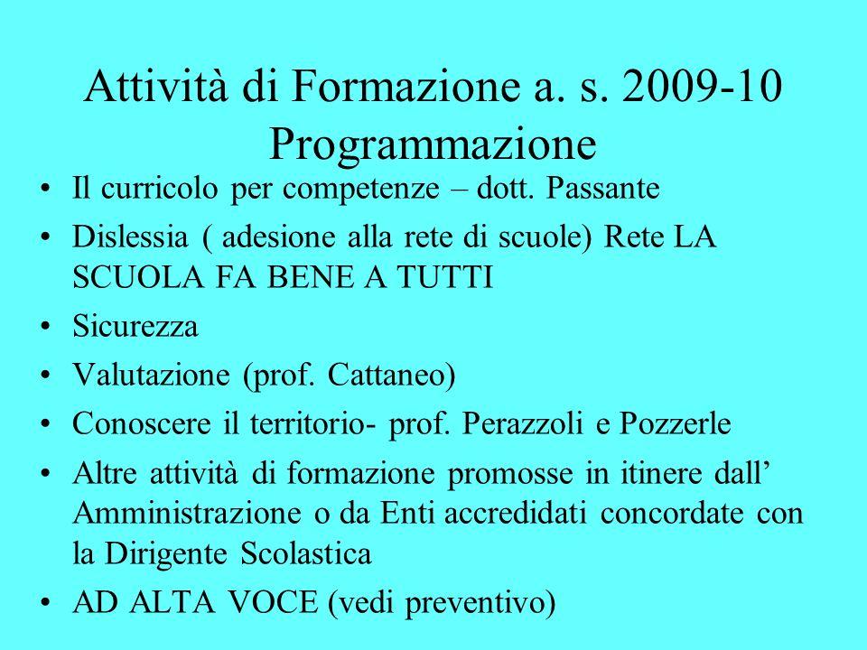 Attività di Formazione a. s. 2009-10 Programmazione
