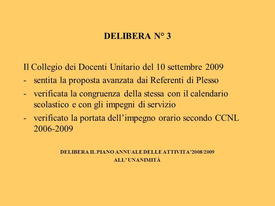 DELIBERA IL PIANO ANNUALE DELLE ATTIVITA'2008/2009