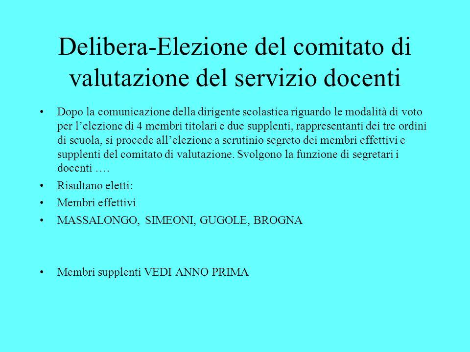 Delibera-Elezione del comitato di valutazione del servizio docenti
