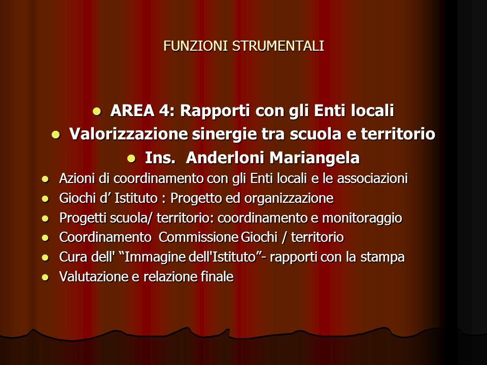AREA 4: Rapporti con gli Enti locali