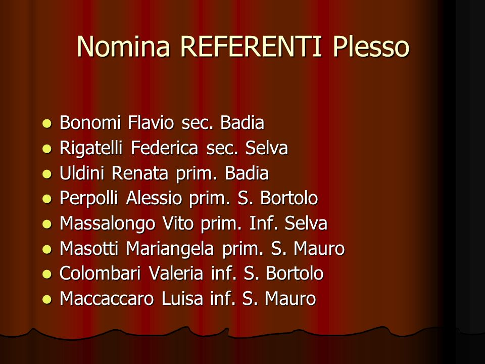Nomina REFERENTI Plesso
