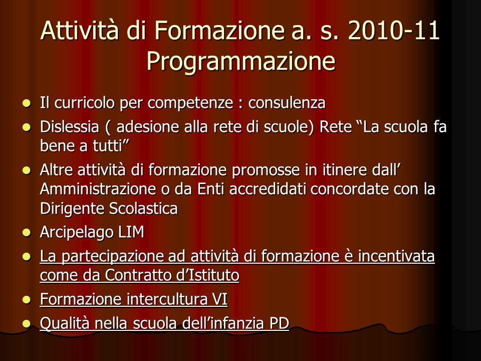 Attività di Formazione a. s. 2010-11 Programmazione